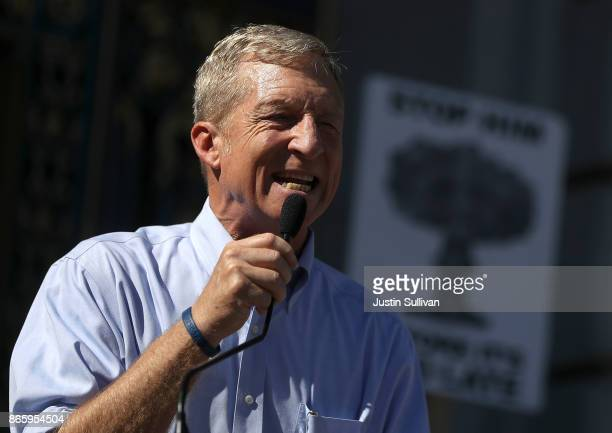 Billionaire Tom Steyer speaks during a rally and press conference at San Francisco City Hall on October 24 2017 in San Francisco California Tom...