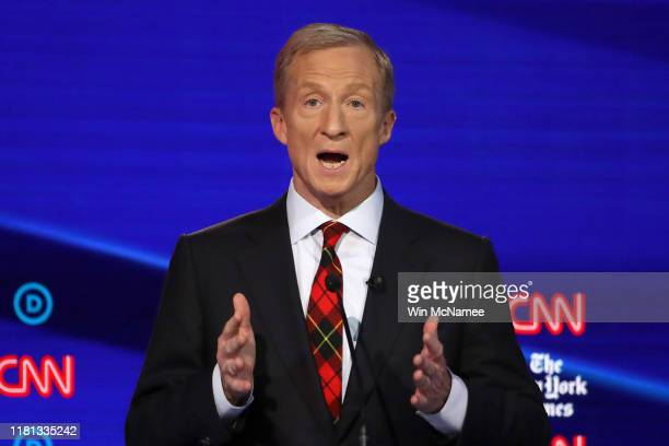 Billionaire Tom Steyer speaks during the Democratic Presidential Debate at Otterbein University on October 15 2019 in Westerville Ohio A record 12...
