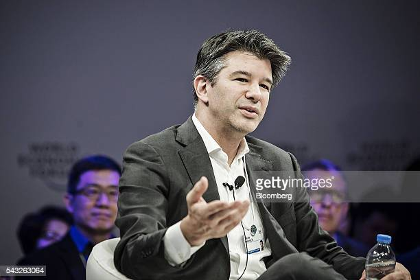 Billionaire Travis Kalanick chief executive officer of Uber Technologies Inc speaks during a session at the World Economic Forum Annual Meeting of...