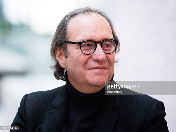 Billionaire Xavier Niel creator of Station F megacampus for startups looks on during a news conference inside Station F in Paris France on Tuesday...