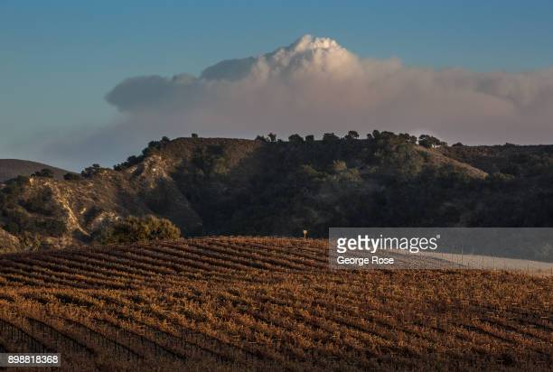 Billowing smoke and ash from the Thomas Fire currently burning in Ventura County and along the eastern edges of Santa Barbara County is viewed on...