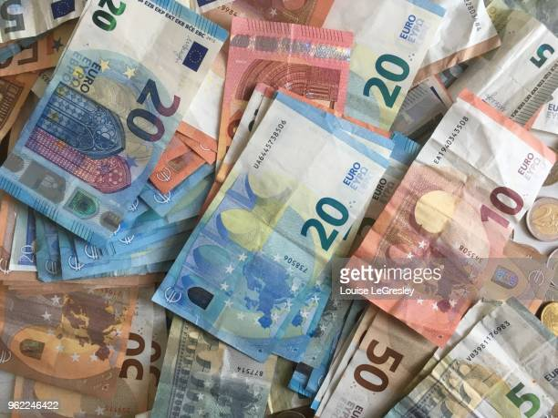 bills of 50,20,10 and 5 euros - twenty euro banknote stock photos and pictures