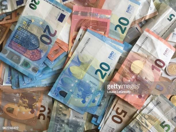 bills of 50,20,10 and 5 euros - banconote euro foto e immagini stock