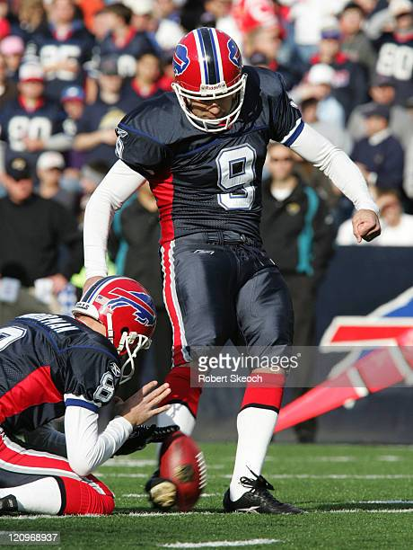 Bills' Rian Lindell kicks a point during game between the Buffalo Bills and the Jacksonville Jaguars at Ralph Wilson Stadium in Orchard Park, New...