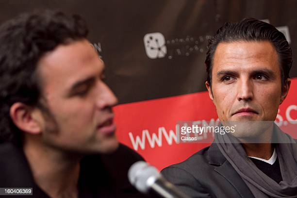 Billy and Fernando Rovzar pose during a press conference to present Bully en Corto the movie on January 30 2013 in Mexico City Mexico