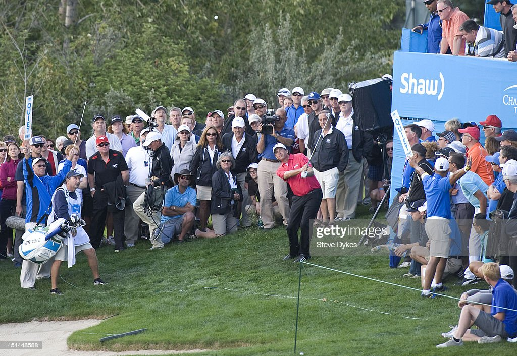 Billy Andrade chips onto the 18th green during his playoff with Fred Couples after the final round of the Shaw Charity Classic at the Canyon Meadows Golf & Country Club on August 31, 2014 in Calgary, Canada.