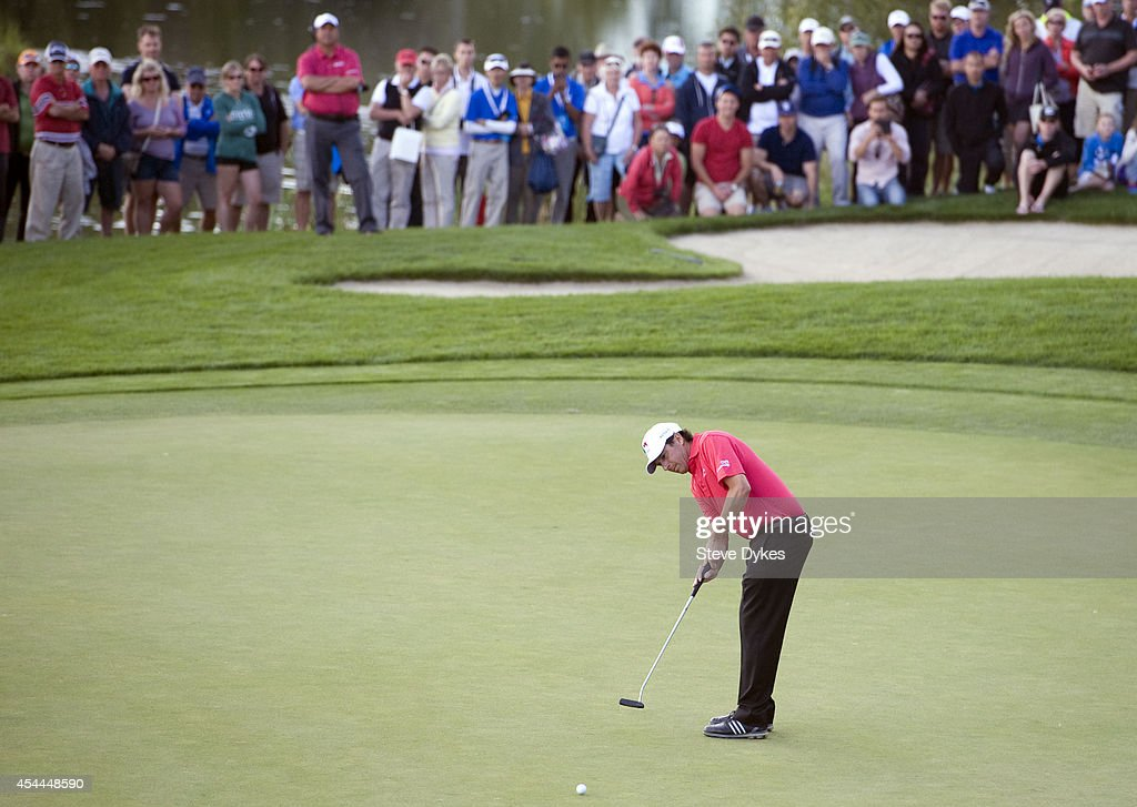 Billy Andrade hits his birdie putt attempt on the 18th green in an effort to force another hole in his playoff with Fred Couples after the final round of the Shaw Charity Classic at the Canyon Meadows Golf & Country Club on August 31, 2014 in Calgary, Canada.