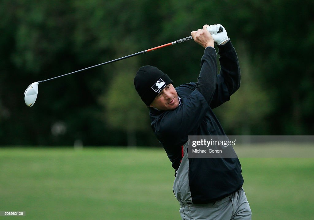 Billy Andrade hits his drive on the second hole during the final round of the Allianz Championship held at The Old Course at Broken Sound on February 7, 2016 in Boca Raton, Florida.