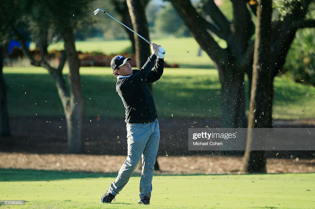 Billy Andrade hits his second shot on the third playoff hole during a sudden death playoff after the final round of the Allianz Championship held at The Old Course at Broken Sound on February 7, 2016 in Boca Raton, Florida.