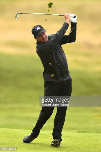 Billy Andrade of the United States hits an approach shot during the first round of the the Senior Open Championship presented by Rolex at Royal...