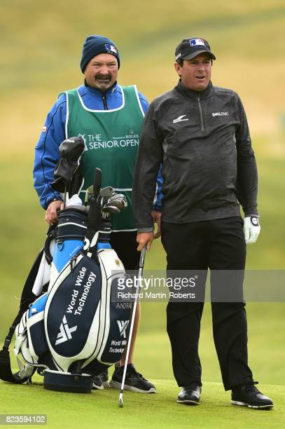 Billy Andrade of the United States looks on during the first round of the the Senior Open Championship presented by Rolex at Royal Porthcawl Golf...