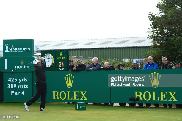 Billy Andrade of the United States tees off on the 1st hole during the final round of the Senior Open Championship presented by Rolex at Royal...