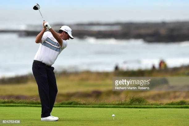 Billy Andrade of the United States tees off on the 3rd hole during the third round of the Senior Open Championship presented by Rolex at Royal...