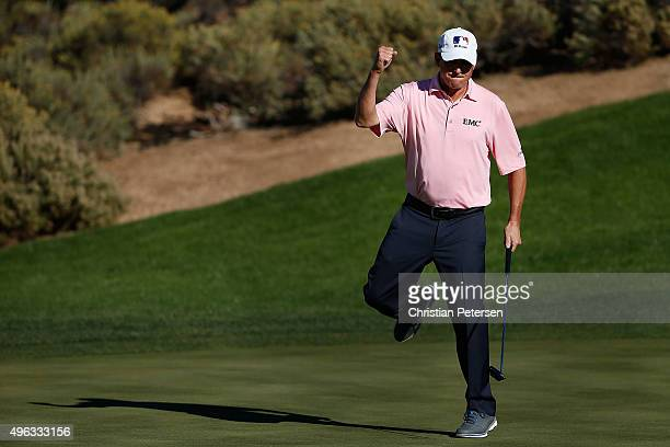 Billy Andrade reacts after making a birdie putt on the 13th green during the final round of the Charles Schwab Cup Championship on the Cochise Course...