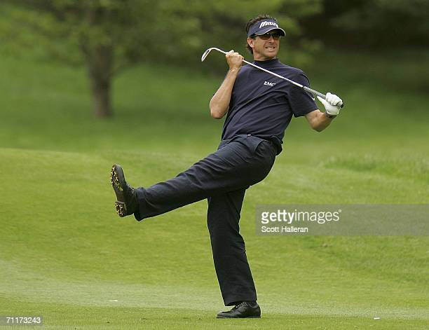 Billy Andrade reacts to his approach shot on the tenth hole during the third round of the Barclays Classic at the Westchester Country Club on June 10...