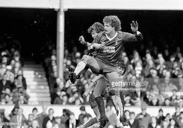 Billy Ashcroft of Middlesbrough is challenged by Graham Rix of Arsenal during the First Division match between Arsenal and Middlesbrough at Highbury...