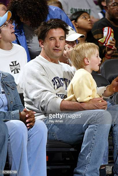 Billy Baldwin and three year old son Vance attend the Detroit Shock v the New York Liberty game on May 22 2005 at Madison Square Garden in New York...