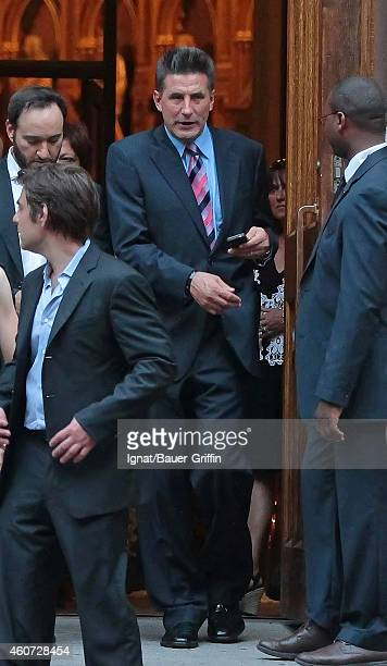 Billy Baldwin is seen attending his brother Alec Baldwin and Hilaria Thomas' wedding ceremony at St Patrick's Old Cathedral on July 01 2012 in New...