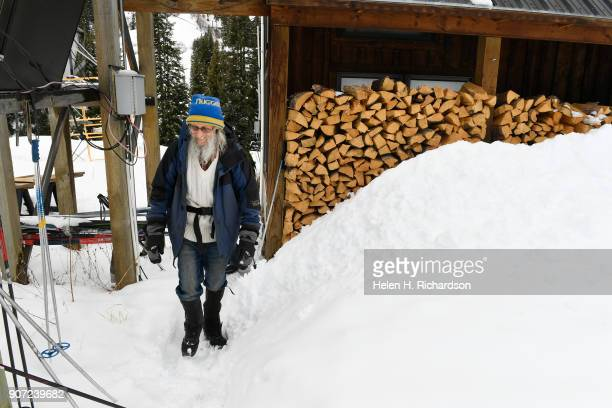 billy barr heads out to work from his remote cabin past a 2 year supply of firewood on January 9 2018 in Gothic Colorado barr who is a reclusive...