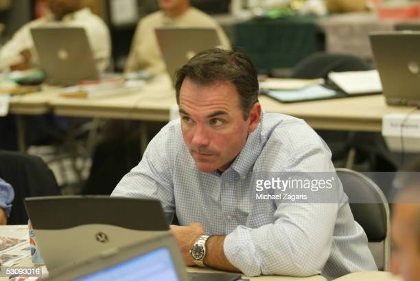 Billy Beane General Manager of the Oakland Athletics during the 2005 FirstYear Player Draft at McAfee Coliseum on June 4 2005 in Oakland California