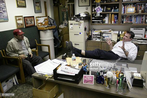 Billy Beane of the Oakland Athletics after the MLB game against the Cincinnati Reds at Network Associates Coliseum on June 7 2004 in Oakland...