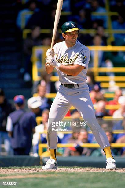 Billy Beane of the Oakland Athletics readies for the pitch during a game in 1989