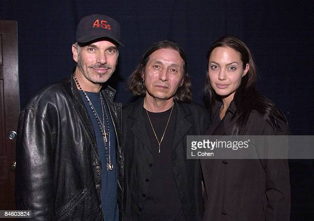 Billy Bob Thornton Angelina Jolie join John Trudell backstage after his concert to celebrate the release of his album'Bone Days'Angelina execproduced...