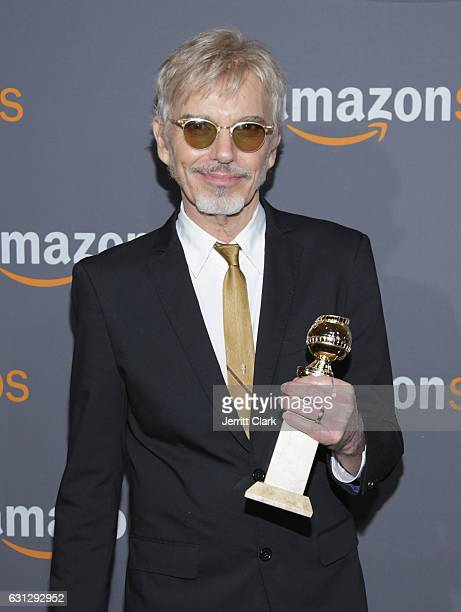 Billy Bob Thornton poses with his award for Best Actor in a TV Series - Drama for his role in 'Goliath' Amazon Studios Golden Globes Party at The...