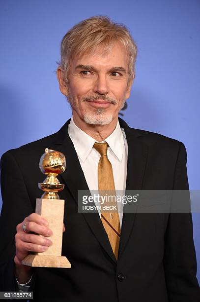 Billy Bob Thornton poses with the Best Actor in a Drama TV series award for his role in Goliath in the press room at the 74th annual Golden Globe...