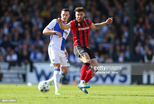Billy Bodin of Bristol Rovers and Gary Deegan of Shrewsbury Town during the Sky Bet League One match between Bristol Rovers and Shrewsbury Town at...