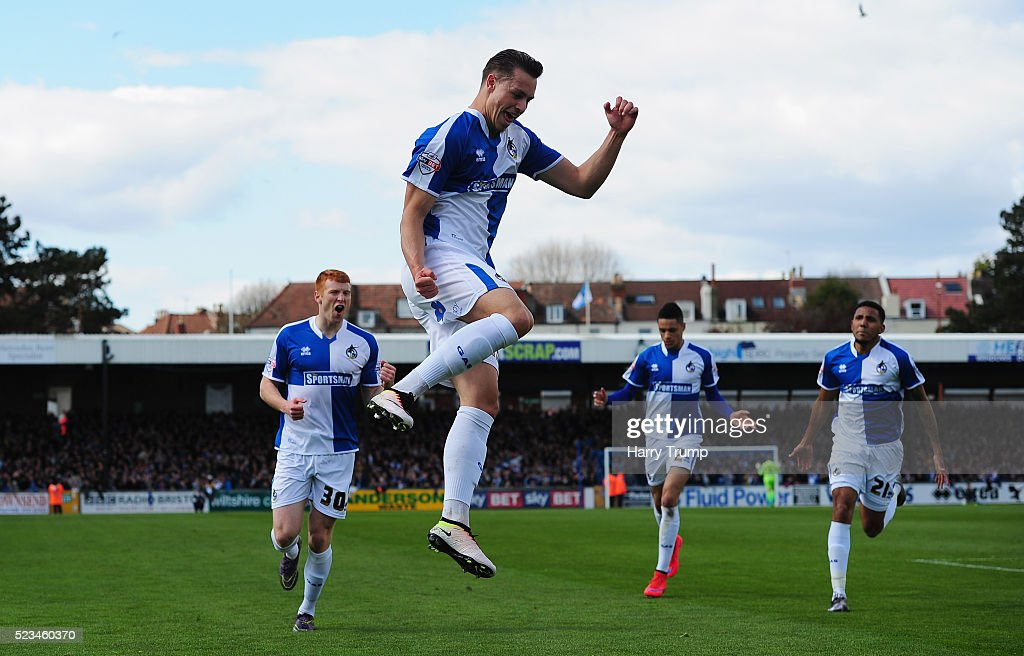 Billy Bodin of Bristol Rovers celebrates after scoring his sides first goal during the Sky Bet League Two match between Bristol Rovers and Exeter City at the Memorial Stadium on April 23, 2016 in Bristol, England.