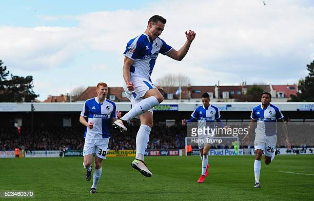 Billy Bodin of Bristol Rovers celebrates after scoring his sides first goal during the Sky Bet League Two match between Bristol Rovers and Exeter...