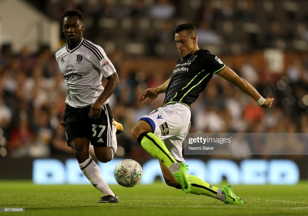 Billy Bodin of Bristol Rovers goes past Tayo Edun of Fulham during the Carabao Cup Second Round match between Fulham and Bristol Rovers at Craven Cottage on August 22, 2017 in London, England.