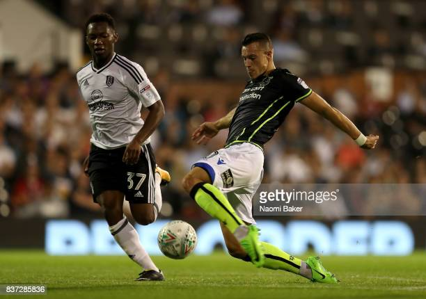 Billy Bodin of Bristol Rovers goes past Tayo Edun of Fulham during the Carabao Cup Second Round match between Fulham and Bristol Rovers at Craven...