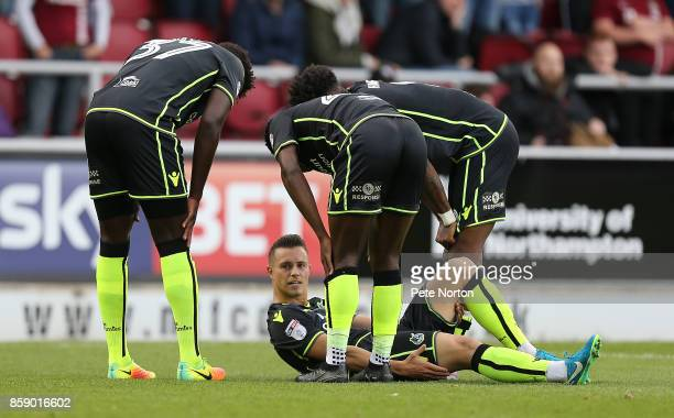 Billy Bodin of Bristol Rovers is congratulated by team mates after scoring his sides first goal during the Sky Bet League One match between...
