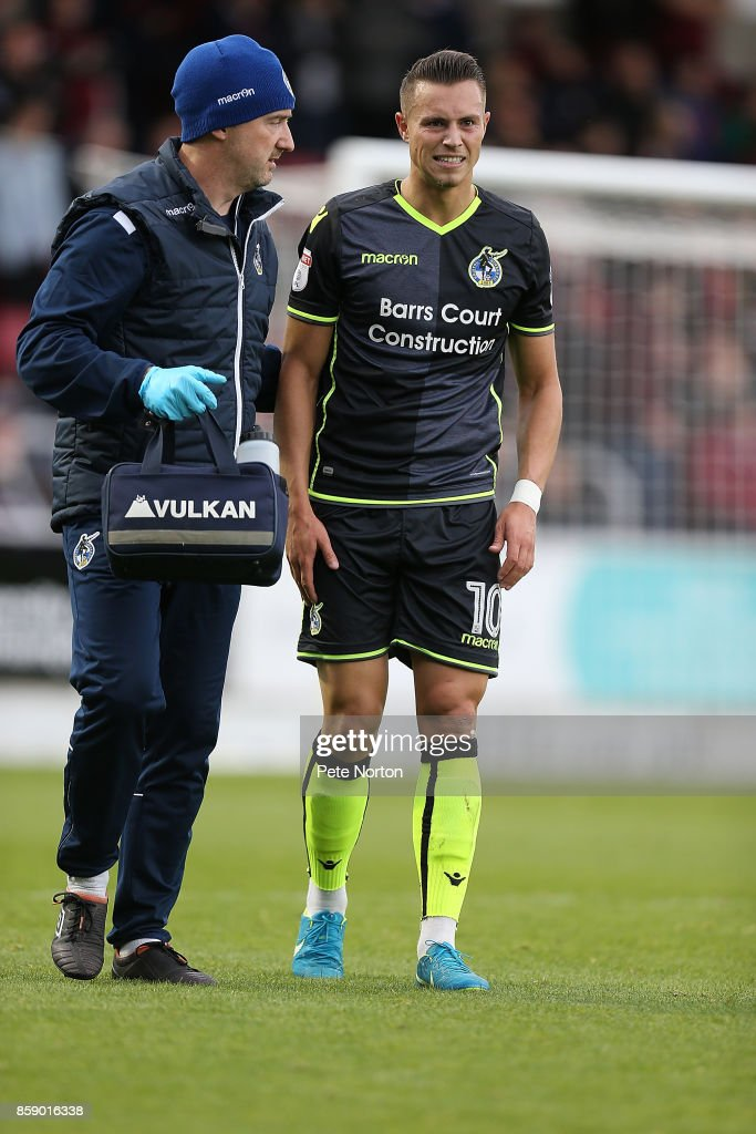Billy Bodin of Bristol Rovers is helped from the pitch after sustaining an injury whilst scoring his sides first goal during the Sky Bet League One match between Northampton Town and Bristol Rovers at Sixfields on October 7, 2017 in Northampton, England.
