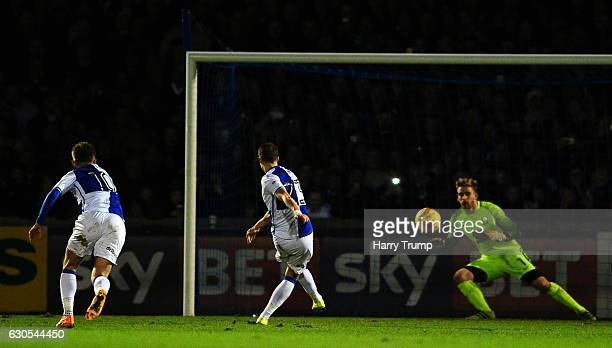 Billy Bodin of Bristol Rovers scores his sides fourth goal during the Sky Bet League One match between Bristol Rovers and Coventry City at the...