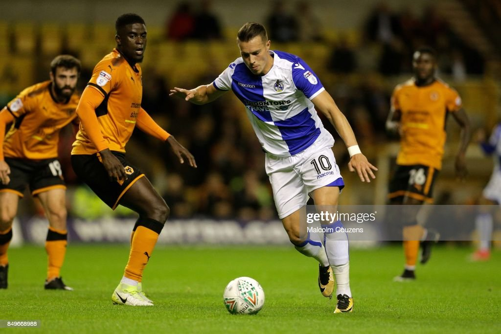 Billy Bodin of Bristol Rovers shoots at goal ahead of Alfred N'Diaye of Wolverhampton Wanderers during the Carabao Cup tie between Wolverhampton Wanderers and Bristol Rovers at Molineux on September 19, 2017 in Wolverhampton, England.