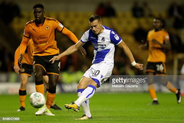 Billy Bodin of Bristol Rovers shoots at goal during the Carabao Cup tie between Wolverhampton Wanderers and Bristol Rovers at Molineux on September...