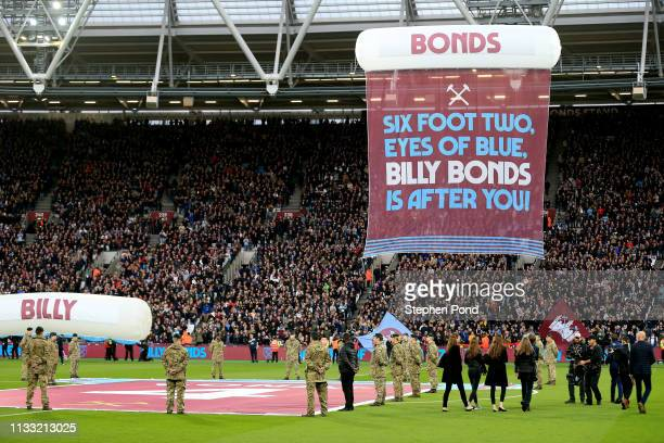 Billy Bonds sign is seen above the pitch prior to the Premier League match between West Ham United and Newcastle United at London Stadium on March 02...