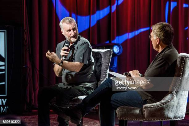 Billy Bragg and Bob Santelli speak during Roots Radicals and Rockers How Skiffle Changed the World With Billy Bragg at The GRAMMY Museum on October 9...