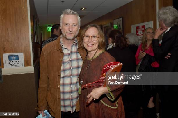 Billy Bragg and Iris DeMent pose for a photo backstage during the 2017 Americana Music Association Honors Awards on September 13 2017 in Nashville...