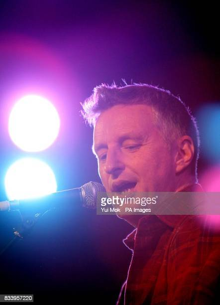 Billy Bragg performing on stage at the Union Chapel in Islington north London as part of the Little Noise Sessions week of gigs in aid of the charity...