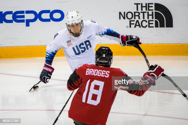 Billy BRIDGES and Brody ROYBAL during The Ice Hockey gold medal game between Canada and United States during day nine of the PyeongChang 2018...