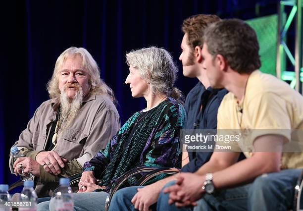 Billy Brown, Ami Brown, Matthew Brown and Gabe Brown speak onstage during the 'Animal Planet: Alaska Bush Family' panel discussion at the Discovery...