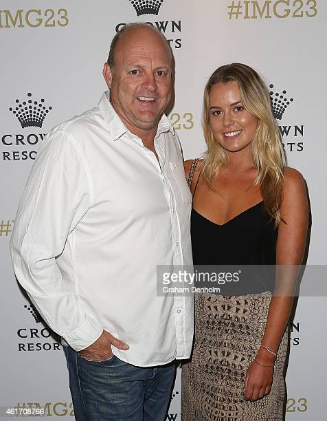 Billy Brownless and daughter Lucy Brownless arrive for Crown's IMG@23 Tennis Players' Party at Crown Entertainment Complex on January 18 2015 in...