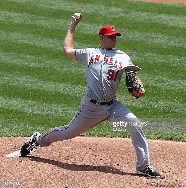 Billy Buckner of the Los Angeles Angels of Anaheim pitches in the second inning against the Kansas City Royals at Kauffman Stadium on May 25 2013 in...