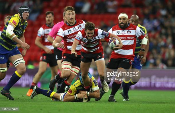 Billy Burns of Gloucester charges upfield during the European Rugby Challenge Cup Final match between Cardiff Blues v Gloucester Rugby at San Mames...