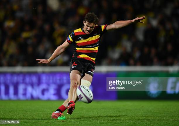 Billy Burns of Gloucester converts his own try during the European Rugby Challenge Cup Semi Final match between La Rochelle and Gloucester Rugby at...