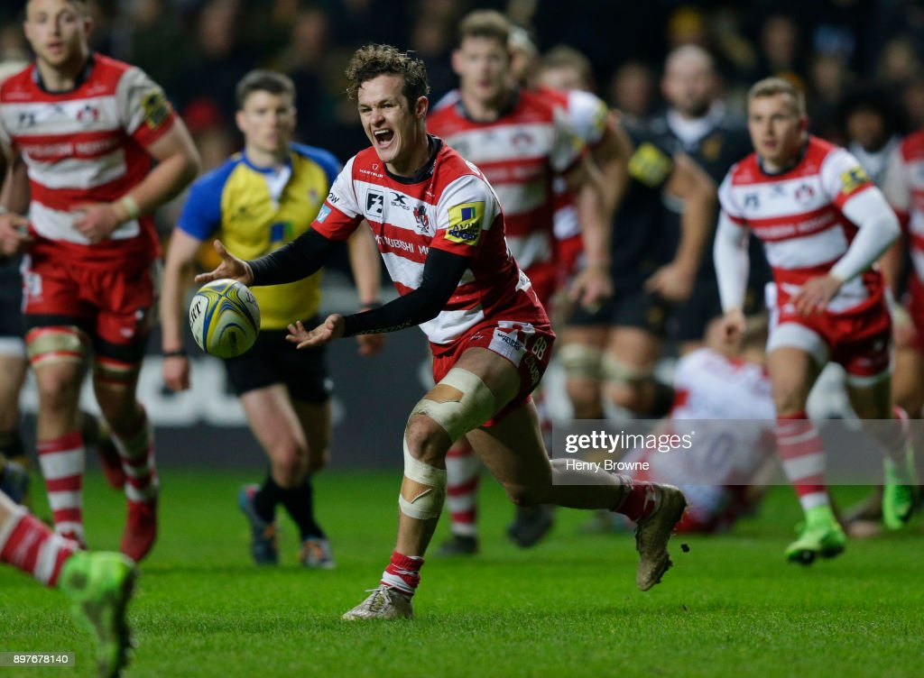 Billy Burns of Gloucester during the Aviva Premiership match between Wasps and Gloucester Rugby at The Ricoh Arena on December 23, 2017 in Coventry, England.